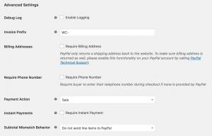 paypal checkout advanced settings