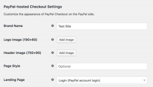 paypal checkout hosted settings